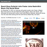 Press for John Foster Interview on Music City Social